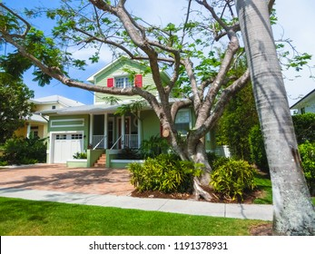 Naples, USA - May 8, 2018: Beautiful house at the beach of Naples, Florida USA on May 8, 2018
