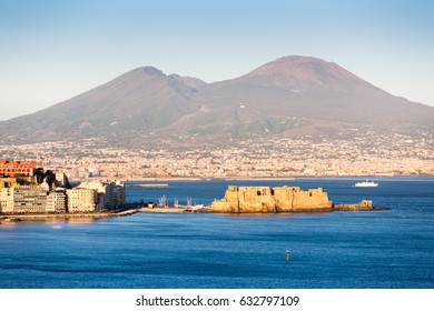 Naples, Vesuvius Volcano and Castel dell'Ovo from Posillipo