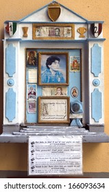 NAPLES-AUGUST 13:An altar for Maradona, in Naples.He is considered as a saint for must of the citizens of Naples because of his years playing in the local Fotball team.Picture taken on August 13,2013.
