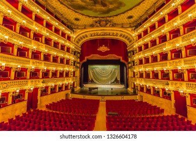 Naples,Campania,Italy-24 June 2017:San Carlo theatre, is an Opera House in Naples as well as one of the most famous and prestigious in the world.