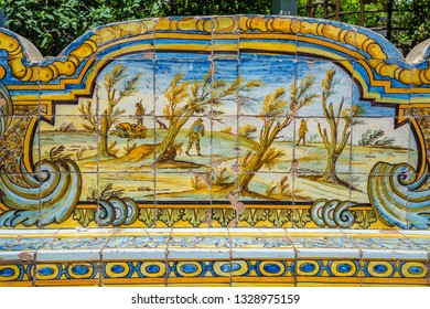 Naples,Campania,Italy-24 June 2017:The cloister with majolica or monastery of Santa Chiara in Naples. Particular of the benches of majolica
