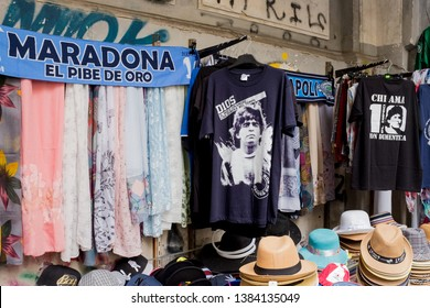 Naples/Italy, 04-28-2019: T- shirts and scarves for sale in the streets of Naples celebrate Diego Armando maradona.