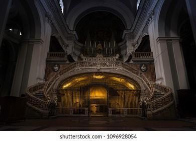 Naples/Italy - February 2018 Inside of a church Santa Maria della Sanitá. Recorded in Naples, Italy