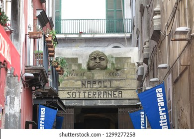 Naples,Italy. January 2019:The entrance of Naples's underground ruins