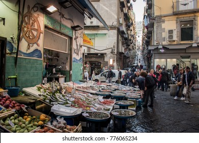 Naples/Italy, November 4, 2017 Fish market in the old town