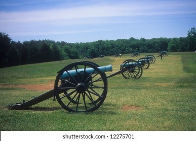 Napoleon artillery battery near Stonewall's line,		Manassas National Battlefield, American  Civil War,	Virginia,