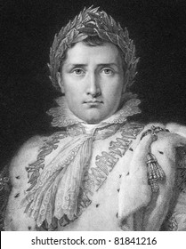 Napoleon Bonaparte (1769-1821). Engraved by W.Holl  and published in The Gallery Of Portraits With Memoirs encyclopedia, United Kingdom, 1834.
