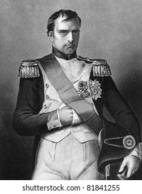 Napoleon Bonaparte (1769-1821). Engraved by D.J.Pound and published in The Gallery Of Portraits With Memoirs encyclopedia, United Kingdom, 1860.