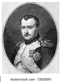 Napoleon Bonaparte aka Napoleon I (1769-1821). Vintage engraving from Harper's Monthly magazine 1879. The image is currently in public domain by the virtue of age.