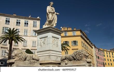 The Napoleon Bonoparte monument and colorful houses of Ajaccio, Corsica island.