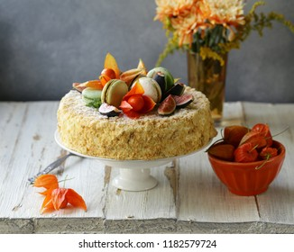 Napoleon cake with butter cream and autumn decor