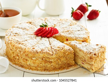Napoleon cake. selective focus,