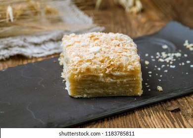 Napoleon dessert on plate
