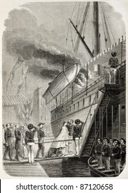 Napoleon III and Empress Eugenie boarding in Marseilles. By unidentified author, published on L'Illustration, Journal Universel, Paris, 1860