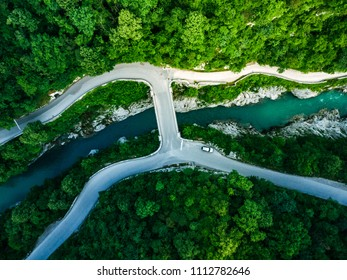 Napoleons Bridge over river Soca, Slovenia, aerial drone view.
