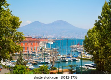 Napoli bay (Naples bay), vesuvius volcano. Beautifull seascape, beautiful panorama, Italy.