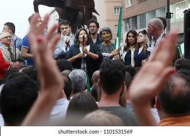 Napoli , Campania , ITALY: 2018-05-30 Luigi Di Maio leader five stars in Naples in picture group leader of the five-star Valeria Ciarambino