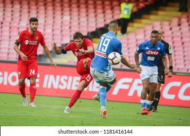 Napoli , Campania , ITALY: 2018-09-15  Italian Serie A football match Napoli - Fiorentina at the San Paolo stadium in photo FEDERICO CHIESA in action