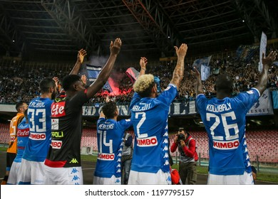 Napoli , Campania , ITALY: 2018-10-07 Serie A match Napoli and Sassuolo at the  Stadio San Paolo in pictures Koulibaly, Malcuit, Mertens, Diawara, Albiol and Ospina  SSC Napoli players festivities