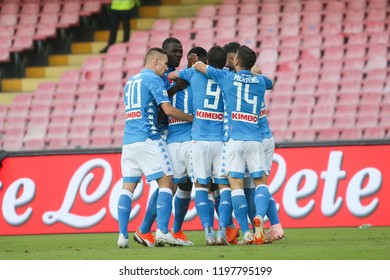Napoli , Campania , ITALY: 2018-10-07 Serie A match Napoli and Sassuolo at the  Stadio San Paolo in pictures celebration goals SSC Napoli