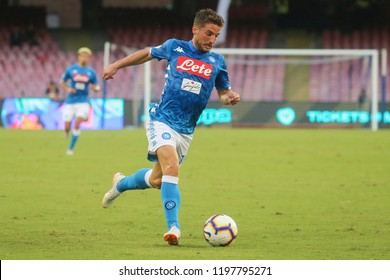 Napoli , Campania , ITALY: 2018-10-07 Serie A match Napoli and Sassuolo at the  Stadio San Paolo in pictures Dreies Mertens  striker SSC Napoli in action