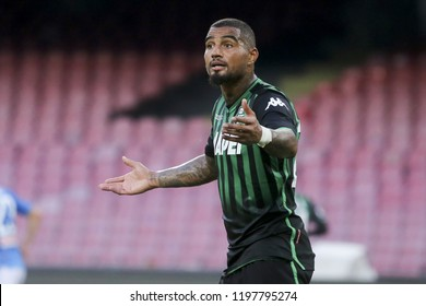 Napoli , Campania , ITALY: 2018-10-07 Serie A match Napoli and Sassuolo at the  Stadio San Paolo in pictures Kevin-Prince Boateng striker