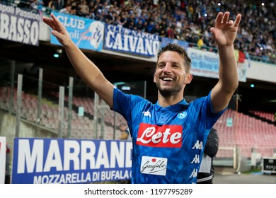 Napoli , Campania , ITALY: 2018-10-07 Serie A match Napoli and Sassuolo at the  Stadio San Paolo in pictures  Dreies Mertens  striker SSC Napoli festivities end of the match