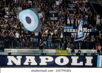 Napoli , Campania , ITALY: 2018-10-07 Serie A match Napoli and Sassuolo at the  Stadio San Paolo in pictures Ultras Napoli support team during the match