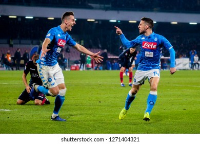 Napoli, Campania, Italy, 29-12-18, Serie A football match SSC Napoli - Bologna at the San Paolo Stadium in picture Arkadiusz Milik (L) and Dries Mertens  celebrate goal