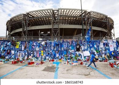 NAPOLI, ITALY - DECEMBRE 1, 2020 - The homage of the fans of Diego Armando Maradona outside the San Paolo stadium in Naples, Italy