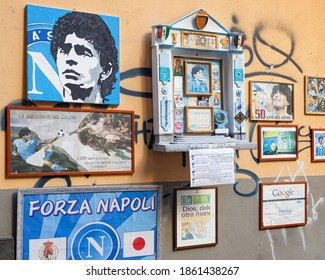 Napoli, Italy - October 10, 2013: Altar of Maradona outside the bar Nilo, He brought the top of European football the Napoli winning two league titles, one Italian Cup, one UEFA Cup and other.