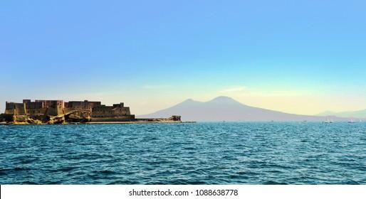Napoli landscape (Naples landscape) vesuvio monte somma nel golfo di Napoli col Castel dell'ovo