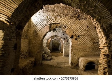 Napoli underground at the archaeological excavations of San Lorenzo Maggiore, Naples, Italy.