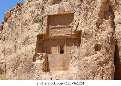 Naqsh-e Rustam, Iran - April 2016.   Tombs of the Persian emperors. Tomb of Darius II, Naqsh-e Rustam, Iran