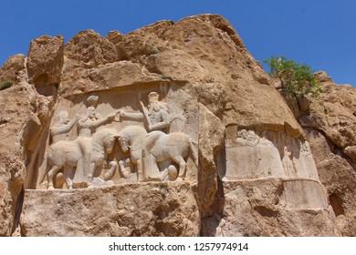 Naqsh-e Rustam, Iran - April 2016.   Rock relief of the investiture of Ardashir I