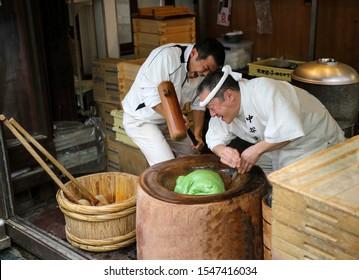 Nara, Japan - 05 december 2017: Traditional mochi making in Nara city.