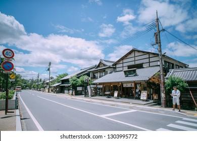 Nara, Japan - 13 Jun 2018: Street of Nara. Nara shi occupies the northern part of Nara Prefecture, bordering Kyoto Prefecture.