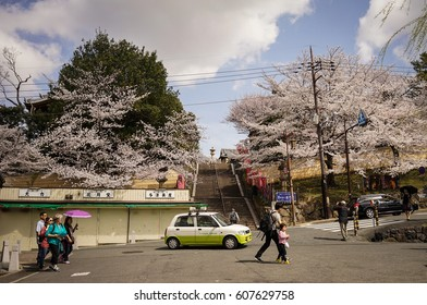 Nara, Japan - Apr 3, 2014. Traffic on street at cherry blossom in Nara, Japan. Nara is Japan first permanent capital was established in the year 710 at Heijo.