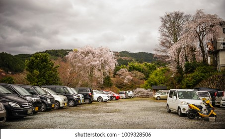 Nara, Japan - Apr 4, 2014. Parking lot on Mount Yoshino in Nara, Japan. Nara is Japan first permanent capital, was established in the year 710 at Heijo.
