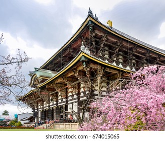 NARA, JAPAN - APRIL 14, 2017 : People visit Todai-ji Temple at cherry blossom in Nara, Japan. Nara was the capital of Japan from 710 to 794, lending its name to the Nara period.
