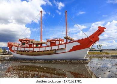 Nara, Japan - August 7, Old boat model at Heijo palace remains, Japan