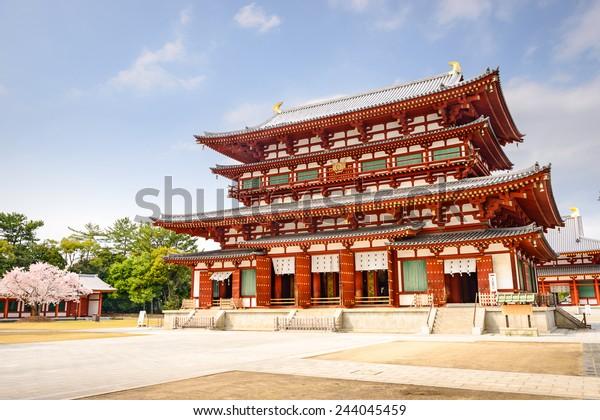 Nara, Japan at the Golden Hall of Yakushi-ji Temple.