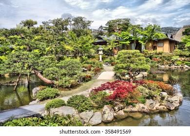 Nara, Japan - Isuien Garden. Japanese style garden.