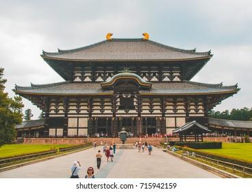 NARA, JAPAN - JULY 24, 2017 - Tourist exploring the famous Todai-ji temple in Nara