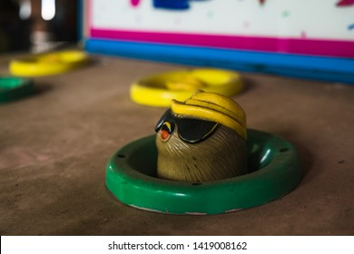 Nara, Japan - June 10 2016: Mole from whack-a-mole at the abandoned Nara Dreamland theme park, which was heavily inspired by Disneyland. It is now demolished.
