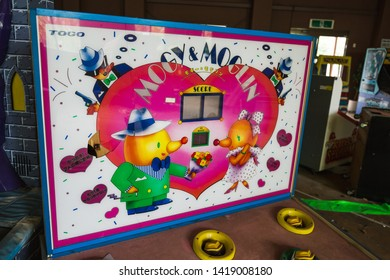 Nara, Japan - June 10 2016: Whack-a-Mole game at the abandoned Nara Dreamland theme park, which was heavily inspired by Disneyland. It is now demolished.