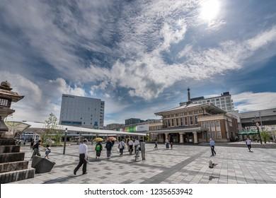 Nara, Japan, June 30, 2017 : Sanjo Dori shopping street in Nara, Japan It is nearly Kintetsu Nara railway station.