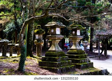 Nara, Japan - March 27 2017: Stone lantern toro in Nara park