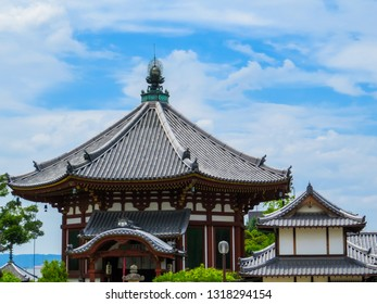 NARA, JAPAN - MAY 25, 2015: Wooden Buddhist temple in the old town.
