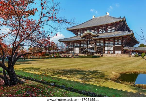 NARA, JAPAN - NOVEMBER 16: Great Buddha Hall in Nara, Japan on November 16, 2013.Todaiji Temple houses the world's largest bronze statue of the Buddha Vairocana, known in Japanese simply as Daibutsu